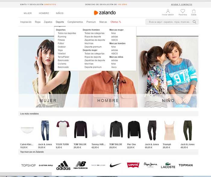 menu tienda online