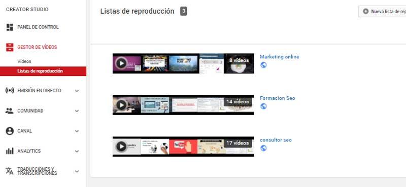 Listas youtube