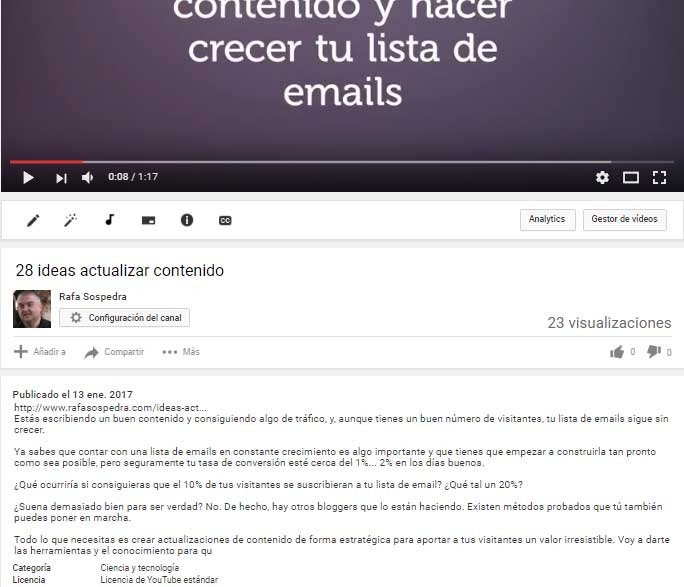 descripción de video optimizada