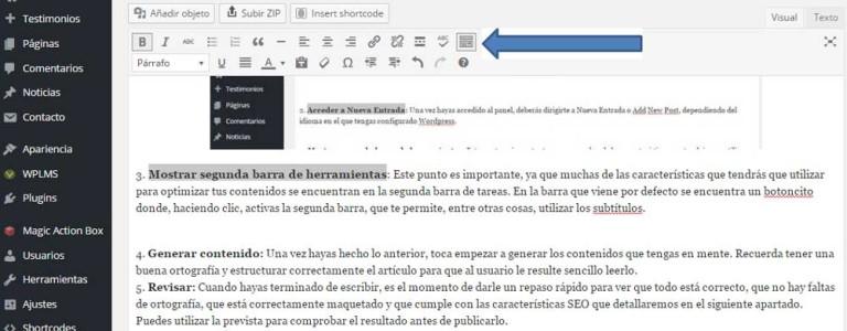 Mostrar segunda barra de herramientas wordpress