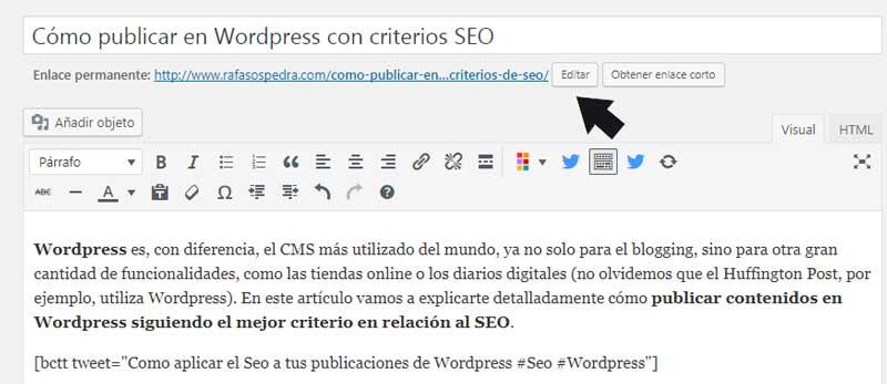 editar la url para wordpress seo