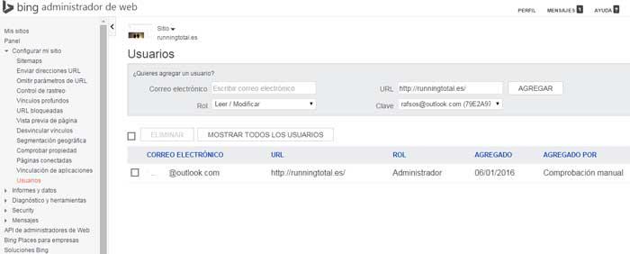 usuarios webmaster tools bing
