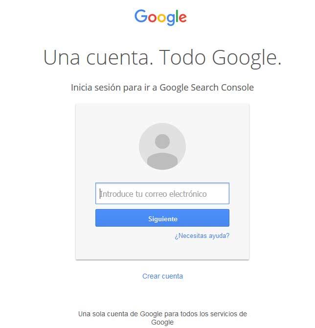 una cuenta de google para darse de alta en Search Console