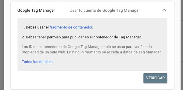 Tag manager para verificar Google search console
