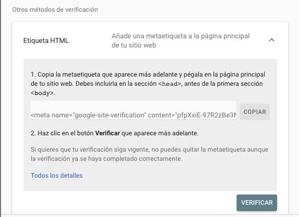 Etiqueta HTML en search console