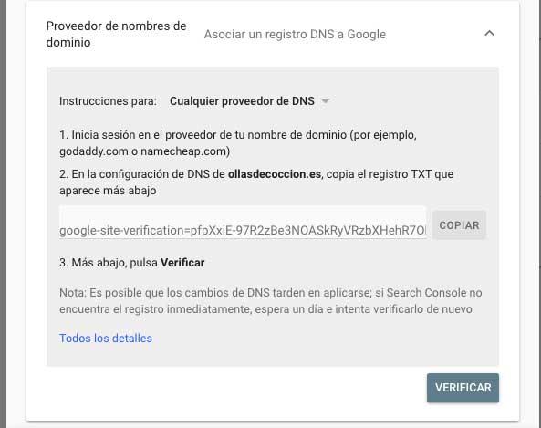 Proveedor de nombres de dominio en search console