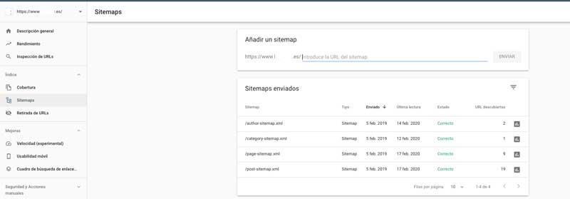 añadir nuestro Sitemap a search console