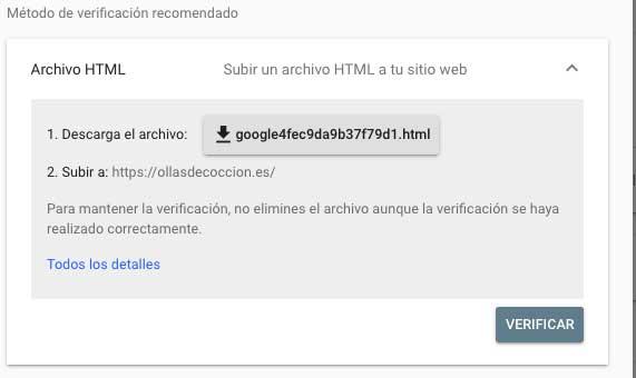 Subir un archivo Html para verificar web en search console