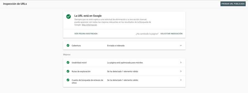 inspeccion de url en search console