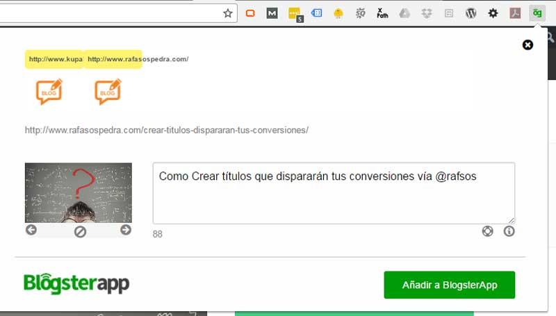 extensión navegador blogsterapp