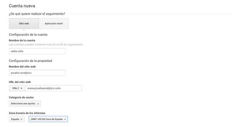configuración de unacuenta en Google Analytics