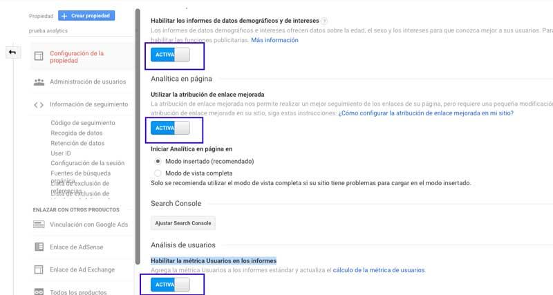 propiedades de lacuenta de Google Analytics