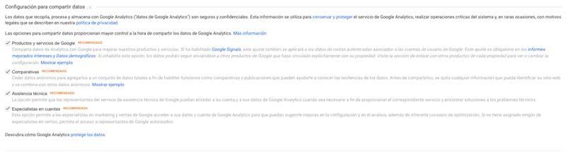 Configuración para compartir datos