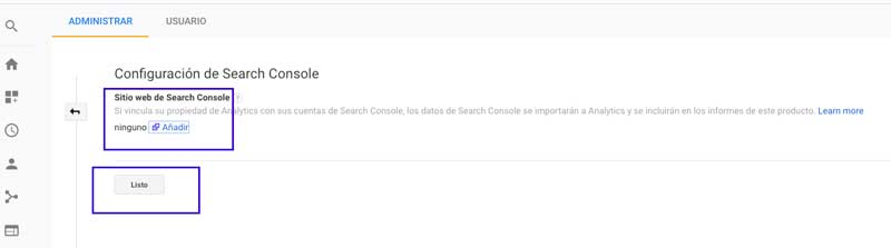analytics con Search Console