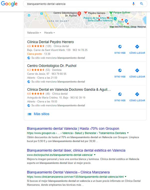blanqueamiento dental seo local