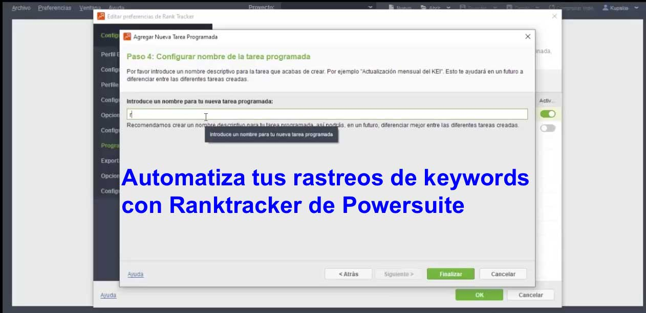 automatiza rastreo de keywords con rank tracker